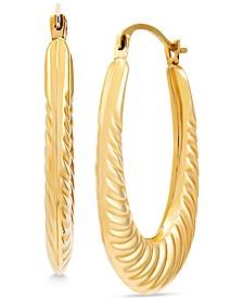 Swirled Rib Oval Hoop Earrings in 14k Gold