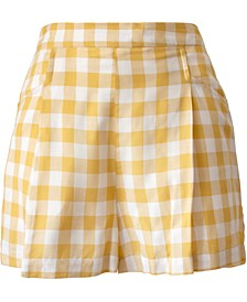 Pull-On Gingham-Print Shorts