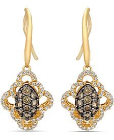 Chocolatier® Chocolate Diamonds (1/2 ct. t.w.) & Vanilla Diamond (1/3 ct. t.w.) Drop Earrings in 14k Gold