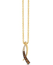 "Chocolatier® Chocolate Diamonds® (3/8 ct. t.w.) & Vanilla Diamonds® (1/20 ct. t.w.) 18"" Pendant Necklace in 14k Gold"