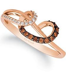 Chocolatier® Chocolate Diamond (1/10 ct. t.w.) & Vanilla Diamond (1/20 ct. t.w.) Looped Ring in 14k Rose Gold
