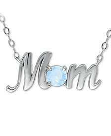 """Swarovski Crystal Birth Month """"Mom"""" Pendant Necklace  in Sterling Silver, 16"""" + 2"""" extender, Created for Macy's"""