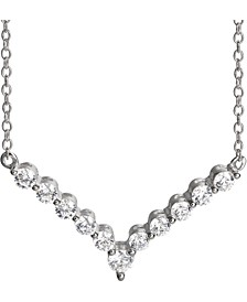 "Cubic Zirconia V 18"" Statement Necklace in Sterling Silver, Created for Macy's"