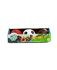 Get Outside Go Pro-Ball Set, Pack of Soccer Ball, Football and 5-Inch Basketball