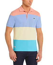 Men's Casual Colorblocked Lightweight Cotton-Piqué Polo