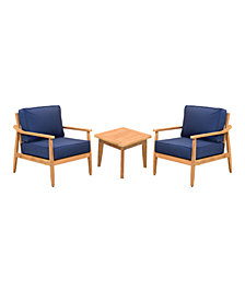 Savona Teak Outdoor 3-Pc. Seating Set (2 Club Chairs & End Table) with Sunbrella® Cushions