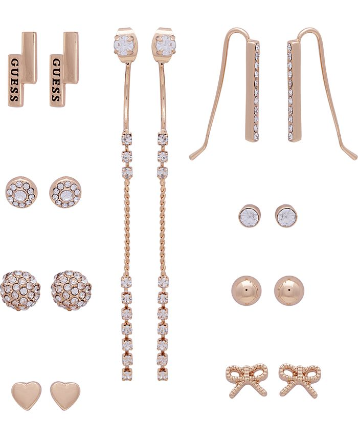 GUESS - Gold-Tone 9-Pc. Set Crystal Heart & Bow Earrings