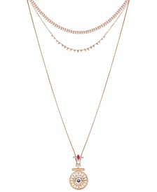 """Gold-Tone Crystal & Stone Layered Pendant Necklace, 12"""" + 2"""" extender"""
