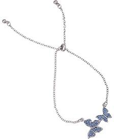 Silver-Tone Pavé Butterfly Slider Bracelet
