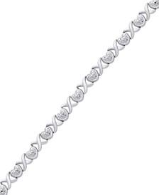 Diamond Accent Heart  X Link Bracelet in Silver-Plate