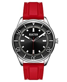 Men's Dress Sport Round Red Silicon Strap Watch 46mm