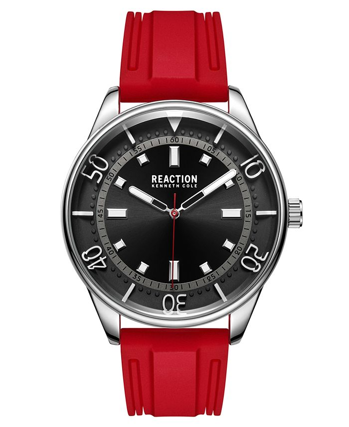 Kenneth Cole Reaction - Men's Dress Sport Round Red Silicon Strap Watch 46mm