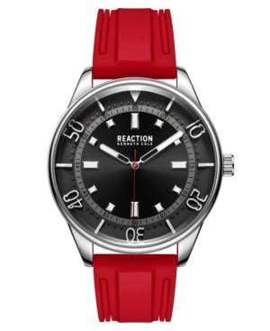 Men's Dress Sport Round Red Silicon Strap Watch 46mm