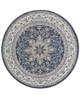 """Haven Hav09 Navy and Ivory 7'10"""" x 7'10"""" Round Rug"""