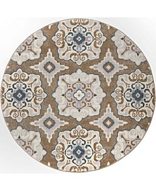 """Haven Hav11 Taupe and Blue 3'3"""" x 3'3"""" Round Rug"""