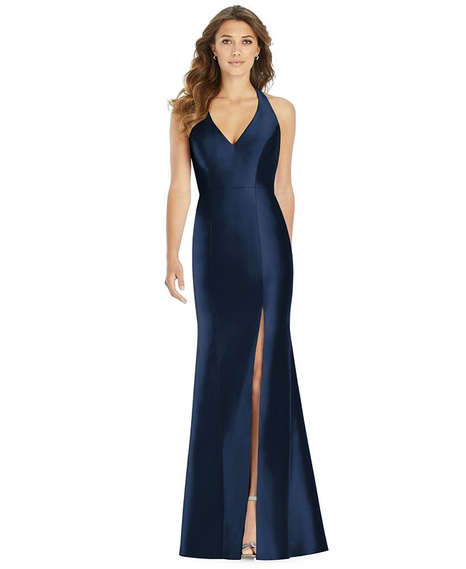 Alfred Sung Satin Halter Gown