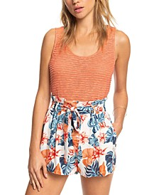 Juniors' Steal the Sun Floral-Print Paperbag Shorts