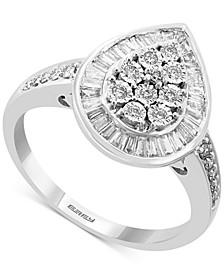 EFFY® Diamond Baguette Teardrop Ring (1/2 ct. t.w.) in 14k White Gold