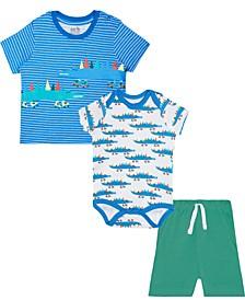 Baby Boys Mix-And-Match 3-Pc. Alligator Skater T-Shirt, Bodysuit & Shorts Set