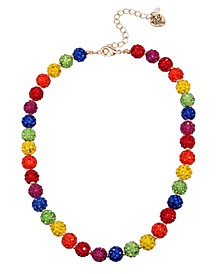 """Rainbow Stone Fireball Collar Necklace in Gold-tone Metal, 16"""" + 3"""" Extender"""