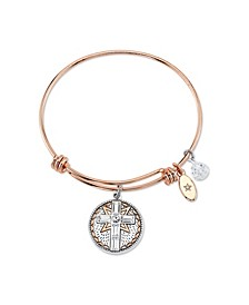 """Faith Is Like WiFi"" Crystal Charm Expandable Bangle Bracelet in Rose Gold Tone Stainless Steel & Plated Charms"