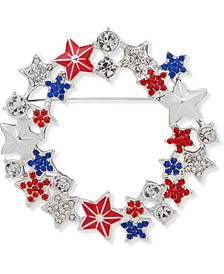 Silver-Tone Pavé Star Red, White & Blue Wreath Pin, Created for Macy's