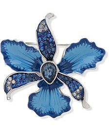 Silver-Tone Pavé & Stone Flower Pin, Created for Macy's