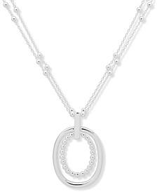 "Silver-Tone Double-Chain Pendant Necklace, 16"" + 3"" extender"