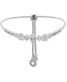 Silver-Tone Crystal & Cubic Zirconia Slider Bracelet