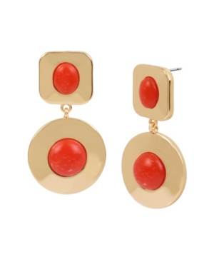 Kenneth Cole New York Gold-Tone Cabochon Double Drop Earrings