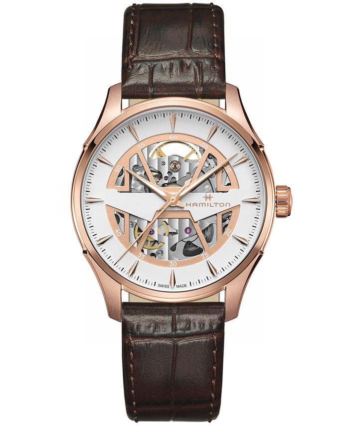 Hamilton - Men's Swiss Automatic Jazzmaster Brown Leather Strap Watch 40mm