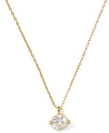 "Gold-Tone Cubic Zirconia Mini Pendant Necklace, 17"" + 3"" extender"