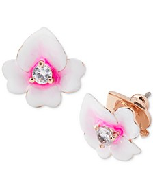 Gold-Tone Cubic Zirconia Flower Stud Earrings