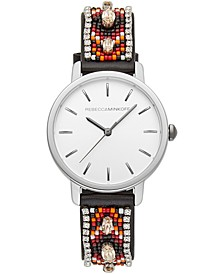 Women's BFFL Black Bead & Crystal Leather Strap Watch 36mm
