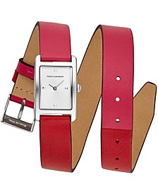 Women's Moment Pink & Red Double Wrap Leather Strap Watch 19x30mm