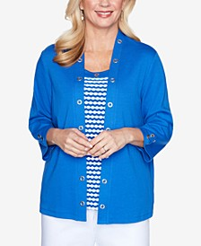 Grommet Trim Two-For-One Three-Quarter Sleeve Knit Top