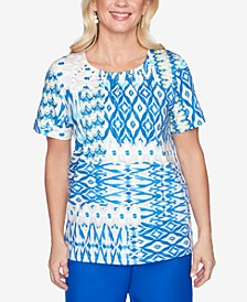 Ikat Patchwork Short Sleeve Knit Top