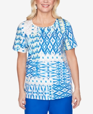Women's Missy Look On The Brightside Ikat Patch Top