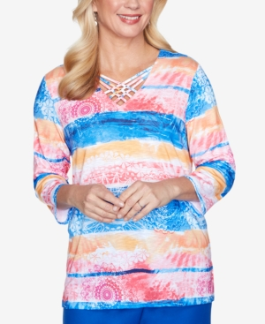Women's Missy Look On The Brightside Watercolor Medallion Biadere Top