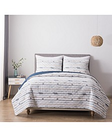 Nautical Ropes King Cotton Quilt and Sham Set