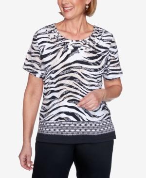 Zebra Print Short Sleeve Knit Top