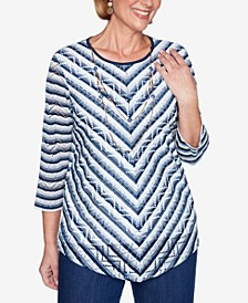 Three Quarter Sleeve Chevron Striped Knit Top with Detachable Necklace