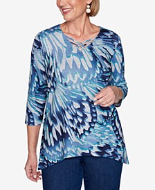 Three Quarter Sleeve Abstract Butterfly Print Knit Top with Lattice Neckline