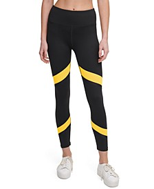 Colorblocked Mesh-Trimmed High-Waist Leggings