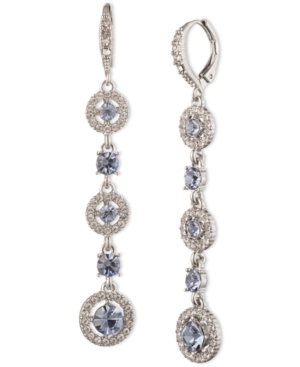 Givenchy Silver-tone Crystal Linear Drop Earrings