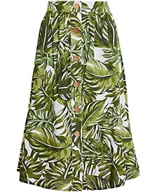 Palm Frond Midi Skirt