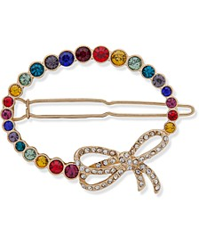 Gold-Tone Pavé Bow & Multicolor Stone Oval Hair Barrette