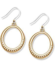 Gold-Tone Openwork Drop Hoop Earrings