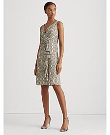 Ruffled Print Georgette Cocktail Dress