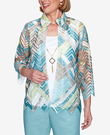 Alfred Dunner Plus Size Three Quarter Sleeve Zigzag Woven Two-for-One Top with Detachable Necklace